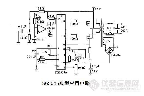 的典型应用电路 用sg3525及相关元件组成的脉冲调制12 v / 220 v 逆变