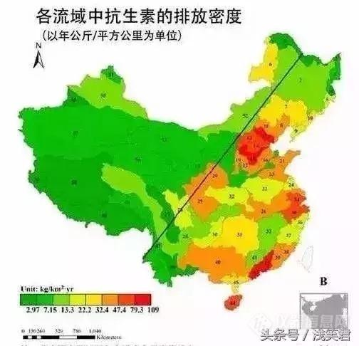 中国在抗生素的使用上,可划分成明显的东部和西部两个部分,东部的
